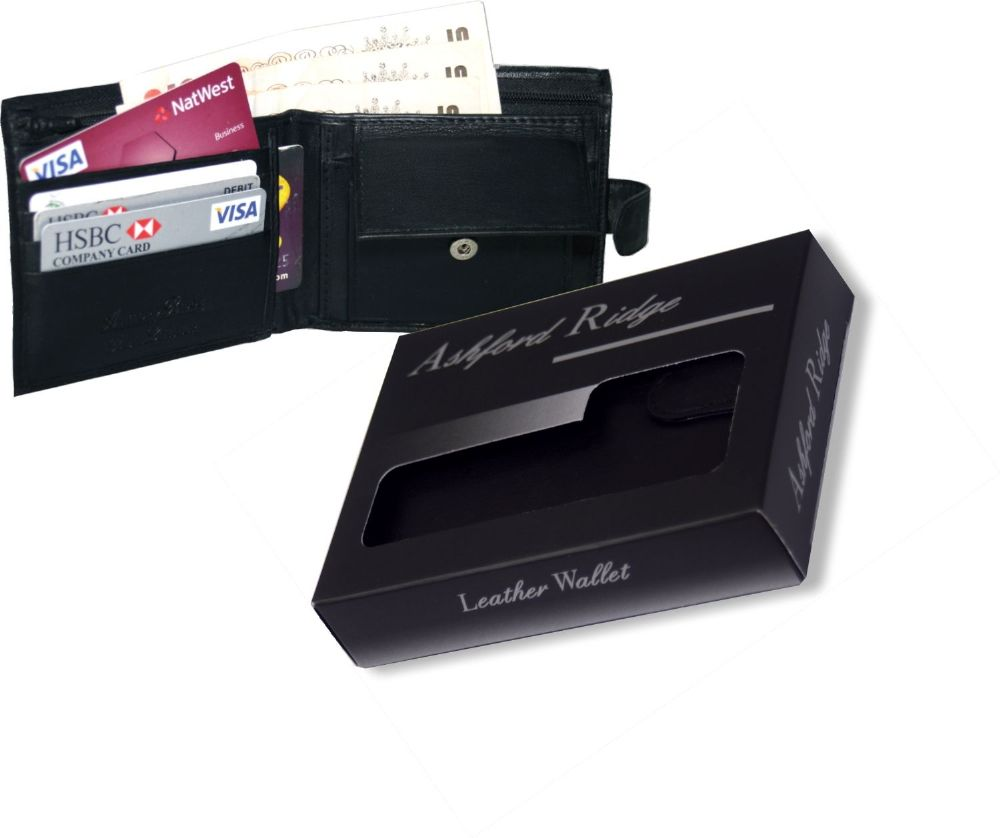 Gift Boxed Real Leather Wallet with Coin Pocket